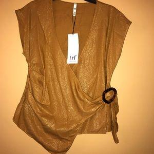 Zara v-neck iridescent golden blouse
